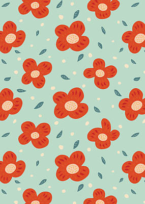 Abstract Flowers Royalty-Free and Rights-Managed Images - Simple Pretty Orange Flowers Pattern by Boriana Giormova