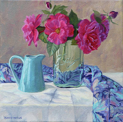 Painting - Simple Things - Pink Roses In An Old Mason Jar by Bonnie Mason