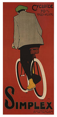 Royalty-Free and Rights-Managed Images - Simplex - Bicycle - Amsterdam - Vintage Advertising Poster by Studio Grafiikka