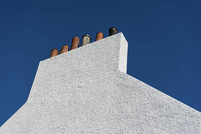 Photograph - Simplicity - White Stucco Wall And Chimneys by Georgia Mizuleva