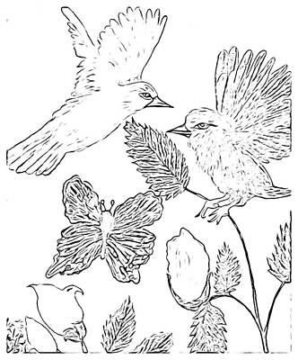 Rosebud Drawing - Simplistic Black White Sketch Birds by Debra Lynch