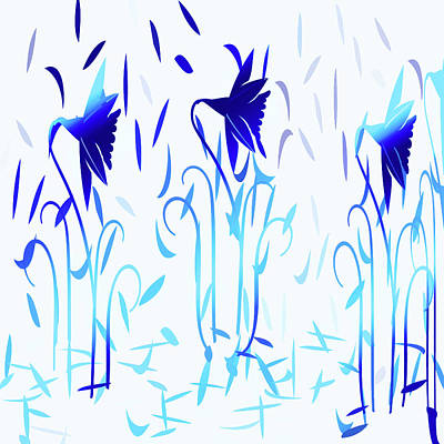 Digital Art - Simply Blue Dancing Flowers by Aimee L Maher Photography and Art Visit ALMGallerydotcom