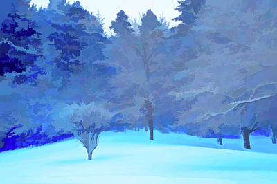 Snowy Photograph - Simply Blue Fresh Snow Scene by Aimee L Maher Photography and Art Visit ALMGallerydotcom