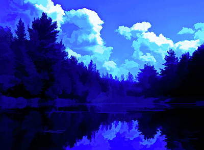 Photograph - Simply Blue Pond Reflections by Aimee L Maher ALM GALLERY
