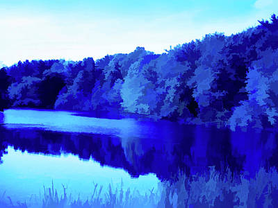 Photograph - Simply Blue Reflecting Trees by Aimee L Maher Photography and Art Visit ALMGallerydotcom