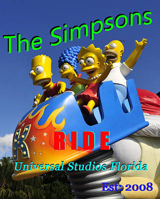 Photograph - Simpsons Ride Postcard Poster Work by David Lee Thompson
