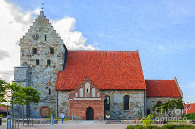 Christian Artwork Digital Art - Simrishamn Church Painting by Antony McAulay