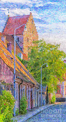Christian Artwork Digital Art - Simrishamn Street Scene Digital Painting by Antony McAulay