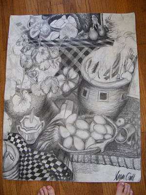 Table Cloth Drawing - Simulated Still Life by Megan Canell  Downing