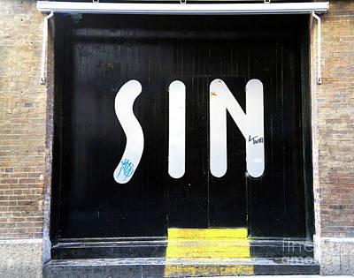 Photograph - Sin Nightclub Door by John Rizzuto