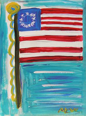 Old Glory Drawing - Since The Original 13 by Mary Carol Williams