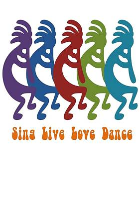 Painting - Sing Live Love Dance Tribal Kokopelli by Tracey Harrington-Simpson