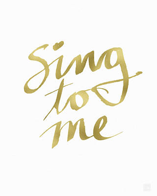 Sing To Me Gold- Art By Linda Woods Art Print