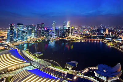 Singapore - View From Marina Bay Sands Art Print by Ng Hock How