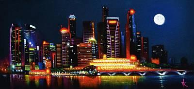 Balck Art Painting - Singapore Aglow by Thomas Kolendra