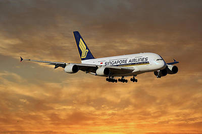 Singapore Photograph - Singapore Airlines Airbus A380-841 2 by Smart Aviation