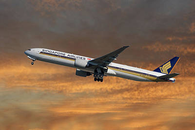 Singapore Airlines Boeing 777-312 3 Art Print