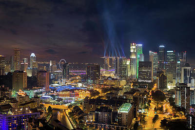 Central Photograph - Singapore City Lights by David Gn