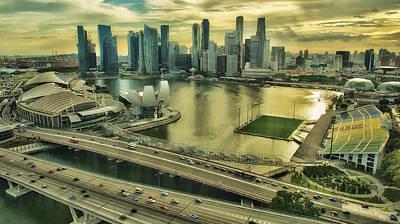 Singapore City On The Move Art Print by Paul W Sharpe Aka Wizard of Wonders