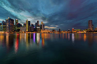 Scenic Photograph - Singapore City Skyline At Evening Twilight by David Gn