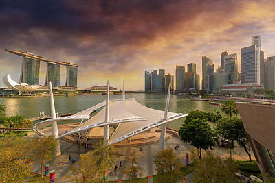 Photograph - Singapore City Skyline By Marina Bay Sunset by David Gn