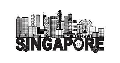 Photograph - Singapore City Skyline Text Black And White Illustration by Jit Lim