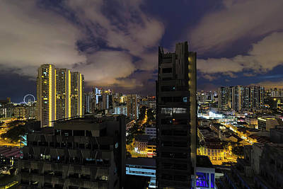 Photograph - Singapore Cityscape On A Cloudy Night by David Gn
