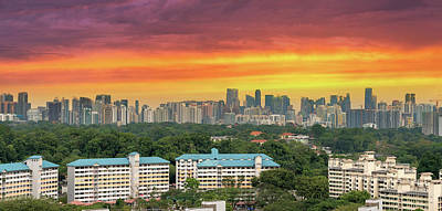 Photograph - Singapore Housing Estate With City Skyline View by Jit Lim