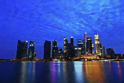 Digital Art - Singapore City by PixBreak Art