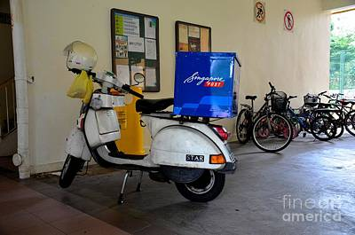 Photograph - Singapore Postman Scooter With Helmet by Imran Ahmed