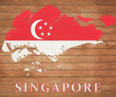 Mixed Media - Singapore Rustic Map On Wood by Dan Sproul