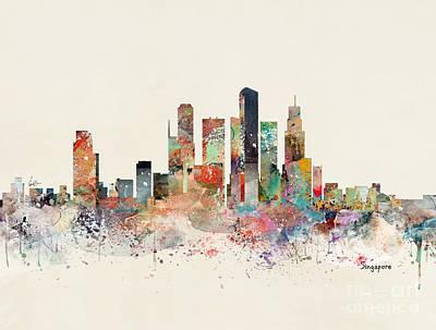 Painting - Singapore Skyline by Bleu Bri
