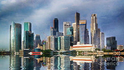 Building Exterior Digital Art - Singapore Skyline by Ian Mitchell