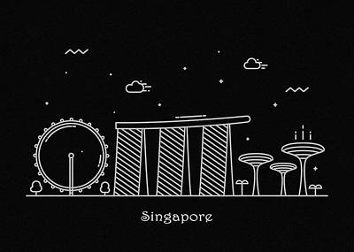 Drawing - Singapore Skyline Travel Poster by Inspirowl Design