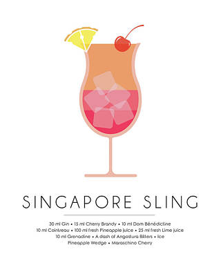 Champagne Mixed Media - Singapore Sling Classic Cocktail Minimalist Print by Studio Grafiikka