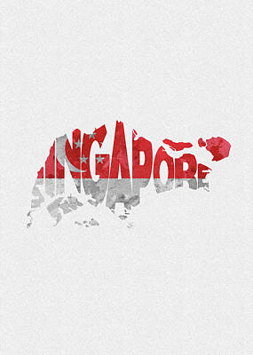 Tourism Digital Art - Singapore Typographic Map Flag by Inspirowl Design