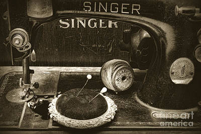Bobbins Photograph - Singer Sewing Machine And A Victorian Pin Cushion by Paul Ward