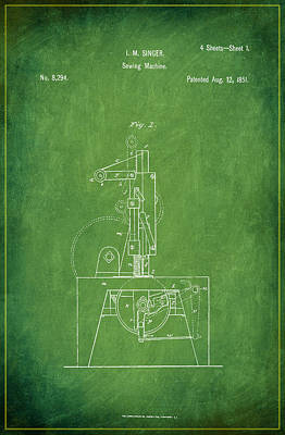 Sewing Mixed Media - Singer Sewing Machine Patent Drawing 1d by Brian Reaves