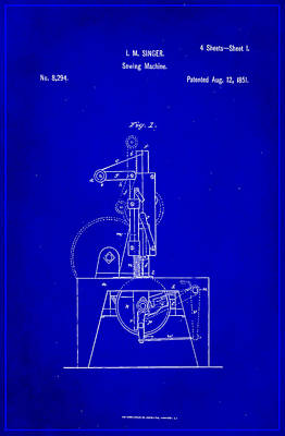 Sewing Mixed Media - Singer Sewing Machine Patent Drawing 1f by Brian Reaves