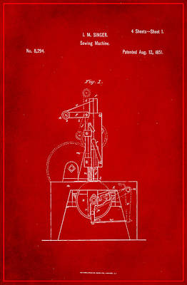 Sewing Mixed Media - Singer Sewing Machine Patent Drawing 1h by Brian Reaves