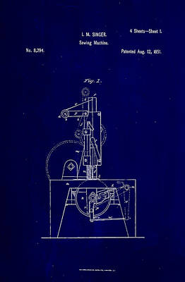 Sewing Mixed Media - Singer Sewing Machine Patent Drawing  by Brian Reaves
