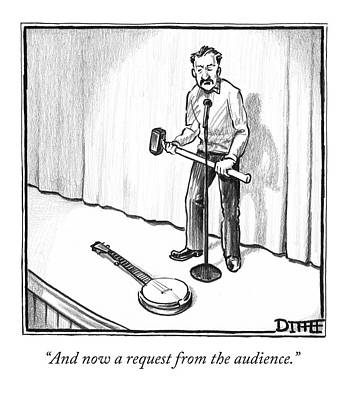 Audience Drawing - Singer Smashes Banjo by Matthew Diffee