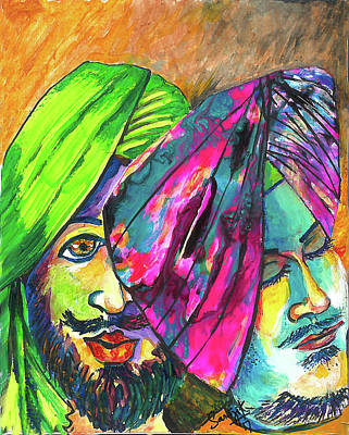 Painting - Singhs And Kaurs-7 by Sarabjit Singh