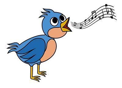 Croon Digital Art - Singing Bird by Miroslav Nemecek