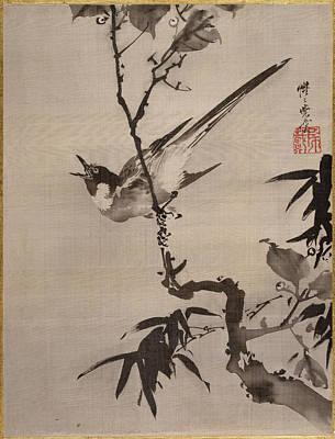 Singing Bird On A Branch Art Print by Kawanabe Kyosai