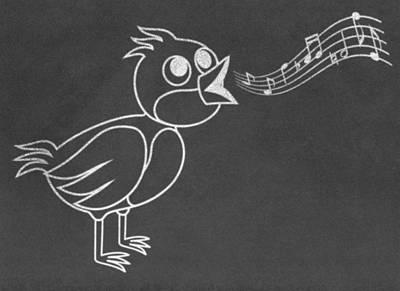 Croon Digital Art - Singing Bird On Chalkboard by Miroslav Nemecek