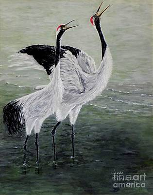 Art Print featuring the painting Singing Cranes by Judy Kirouac