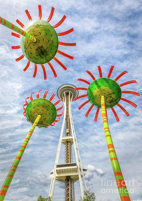 Photograph - Singing Flowers Under The Space Needle by Jerry Fornarotto