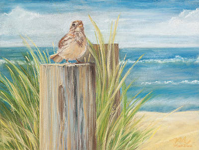 Pastel - Singing Greeter At The Beach by Michelle Wiarda-Constantine