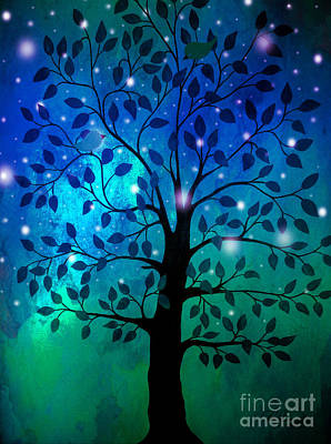 A Summer Evening Painting - Singing In The Aurora Tree by Cheryl Rose